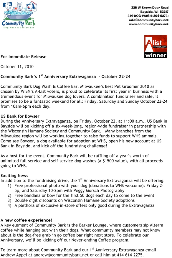 Community Bark 1st Anniversary Event